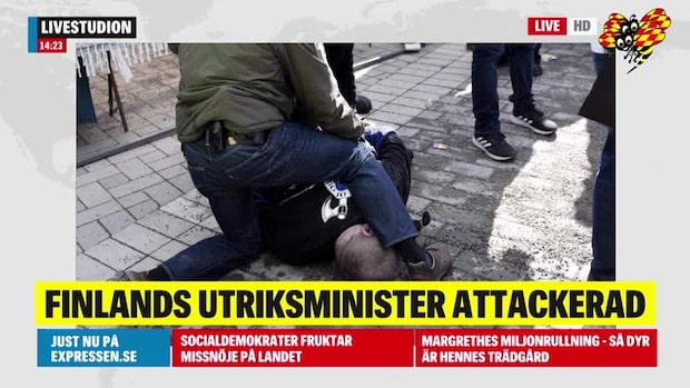 Finlands utrikesminister Timo Soini attackerad