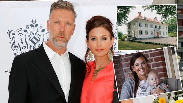 Mikael Persbrandt och Sanna Lundell visar upp gården
