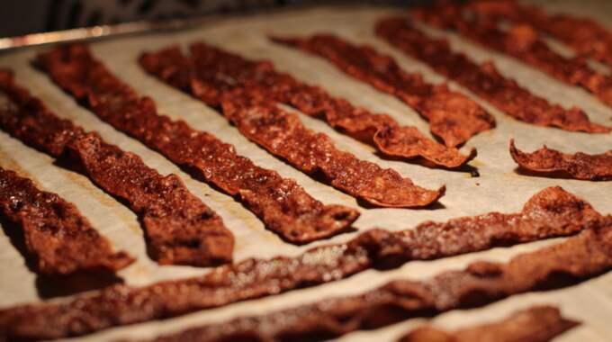Det ser ut som bacon - men är helt veganskt. Foto: Privat